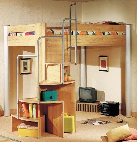 spiral staircase for a lofted bed
