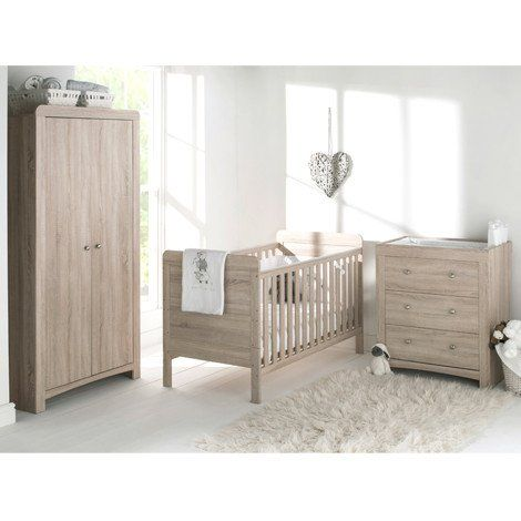 Fontana Cot Bed Dresser Wardrobe Set White Rose Baby