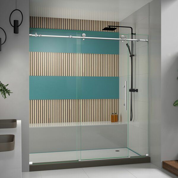 Enigma-X 72 x 76 Single Sliding Frameless Shower Enclosure with Clearmax™ Technology #framelessslidingshowerdoors