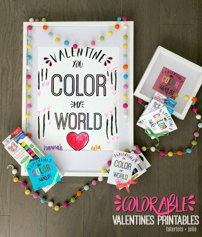 Free Colorable Valentine Tags and Posters with Kwik Stix | Pinterest