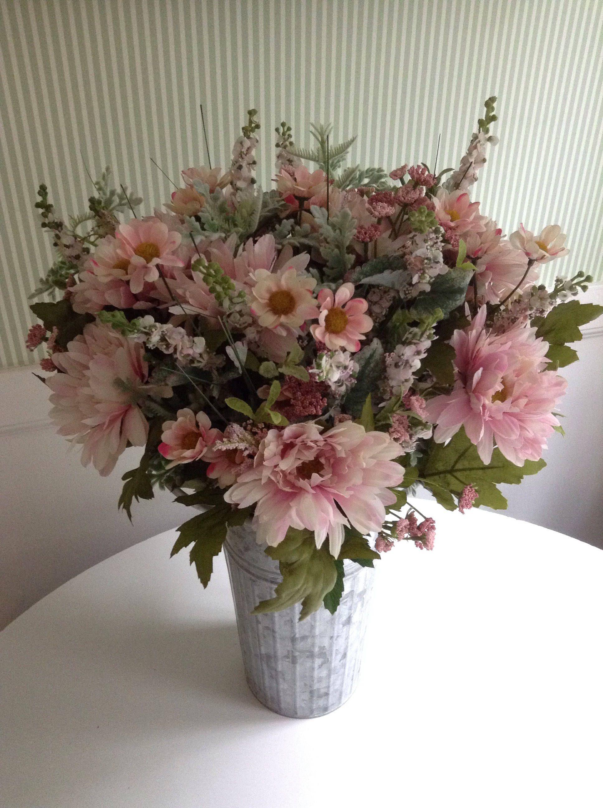 Springsummer Pale Pink Floral Arrangement In Galvanized Tin Flower