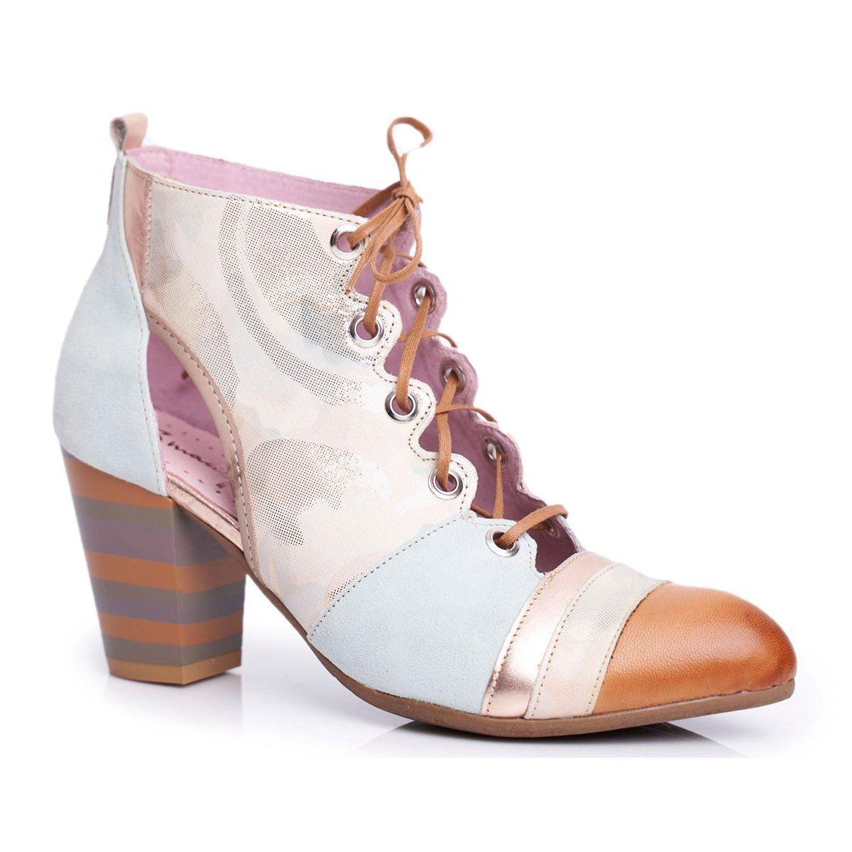 Botki Damskie Na Slupku Skorzane Maciejka Wiosenne 03938 04 Bezowy Wielokolorowe Zielone Shoes Sneakers Fashion