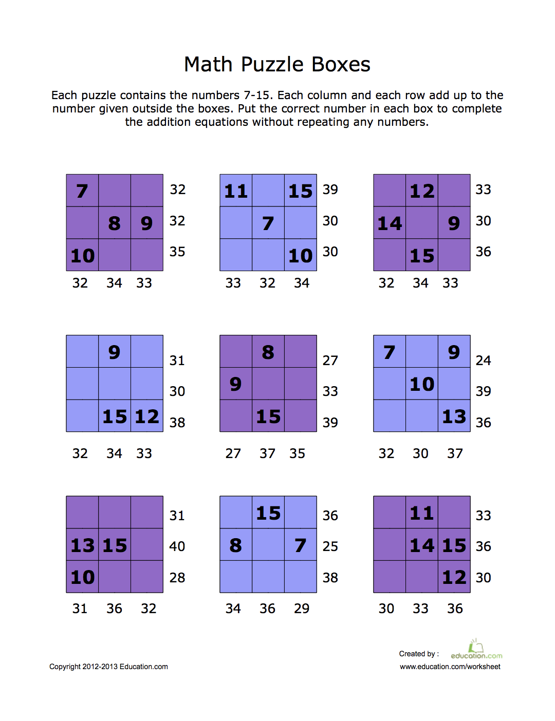 Math Puzzle Boxes Learnmathfacts