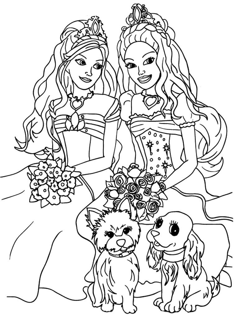 Barbie colouring in online free - Adorable Barbie Coloring Pages For Girls
