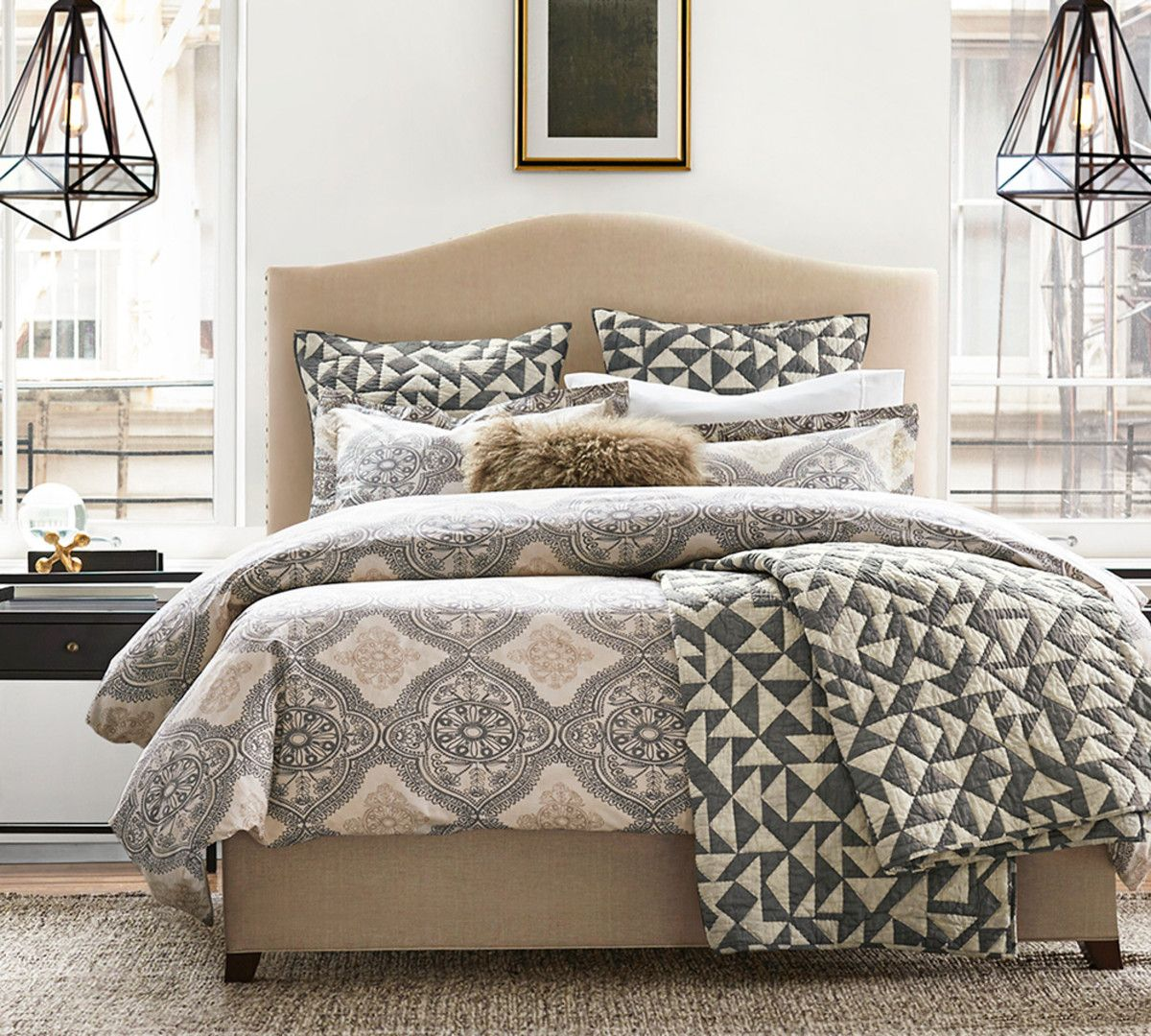 Raleigh Upholstered Camelback Bed With Nailhead Headboards For