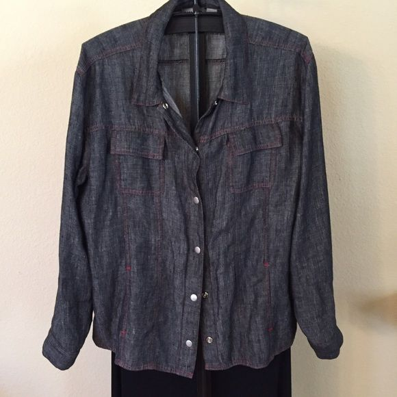 Linen Chico's sz 3 Jacket.(14-16) New Without Tags Linen, light weight, black/ grey , snaps front, snap pockets. Snap sleeve.  So cute with jeans. Take a look at the stiching around the pockets. Linen should look wrinkled. Chico's Jackets & Coats Jean Jackets