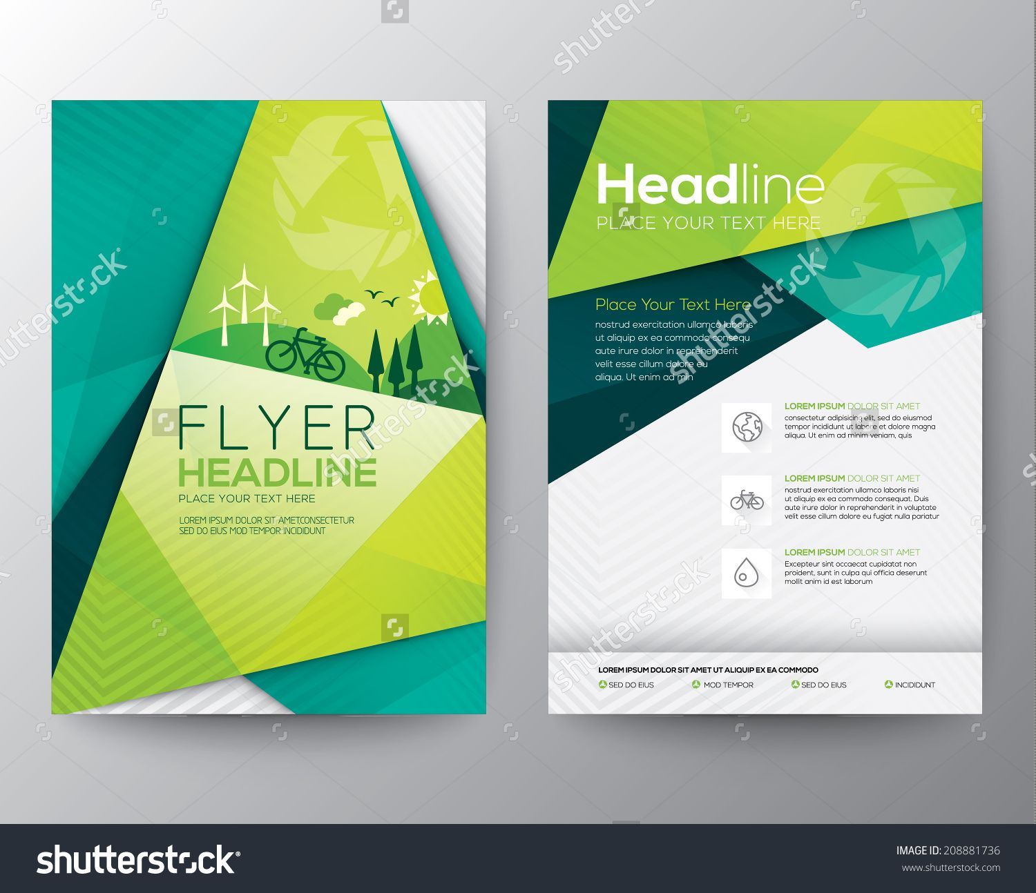Abstract triangle brochure flyer design vector template in for Booklet brochure template
