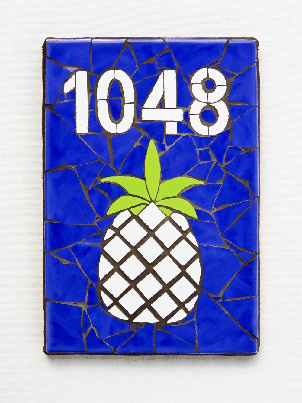 Mosaic house number plaque outdoor address number vertical mailbox mosaic house number plaque outdoor address number vertical mailbox number mosaic tile custom sign modern beach housewarming gift pineapple dailygadgetfo Gallery