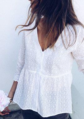 qualité supérieure premier taux nouvelle collection Blouse Alana blanche | Couture | Mode vetement, Chemisier ...