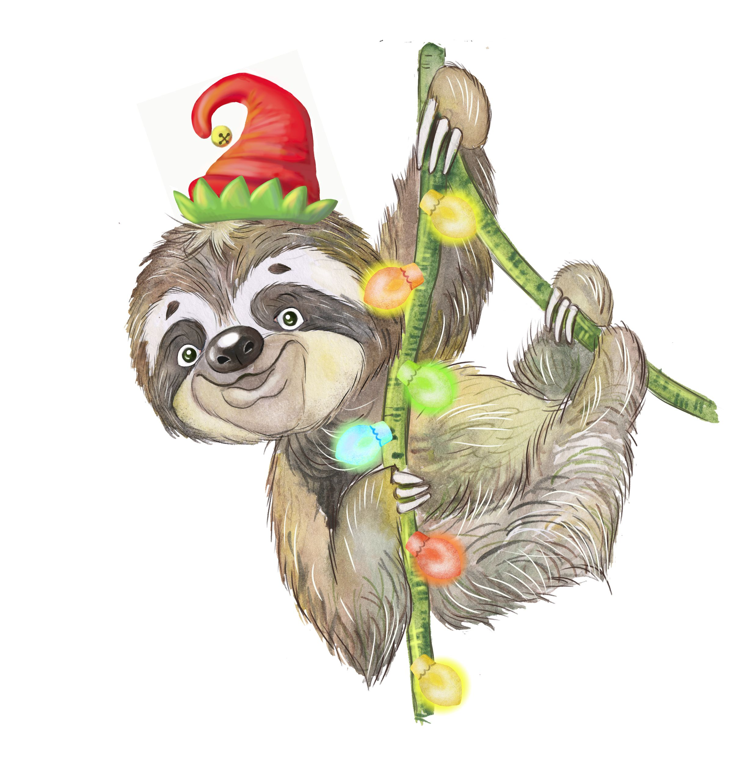 watercolor sloths christmas clipart holiday sloth new year s clipart download png in 2020 christmas clipart sloths funny christmas watercolor pinterest