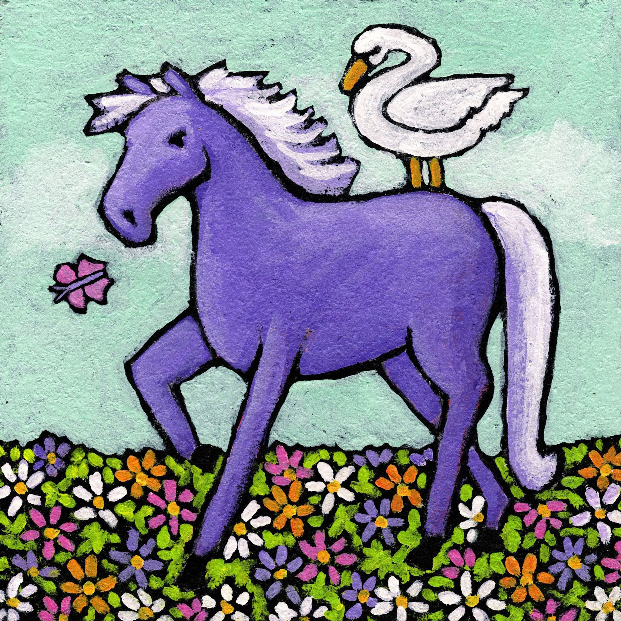 Swan Riding a Horse Swans Canvas artwork and Products