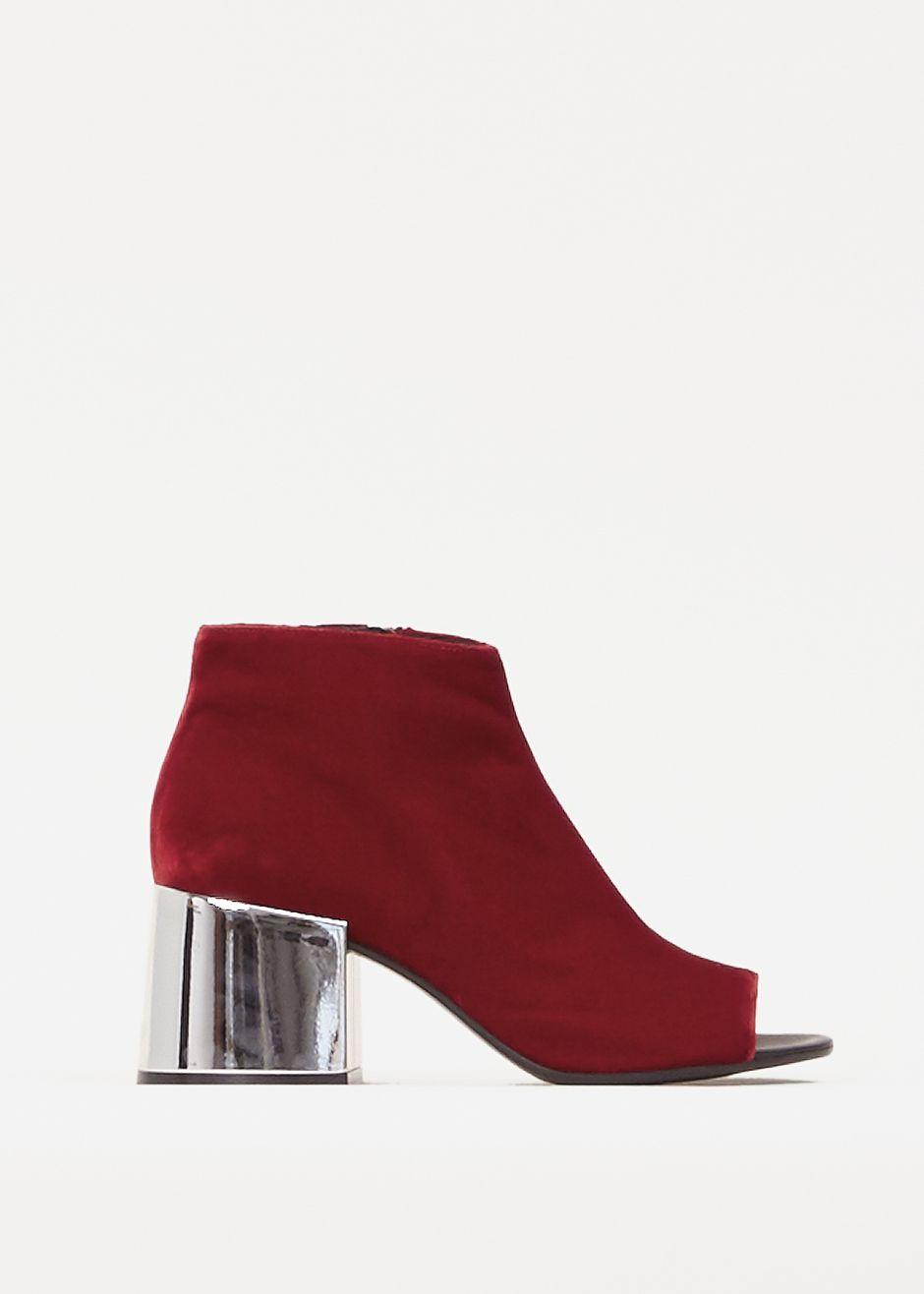 MM6 Maison Margiela Velvet Peeptoe Heel (Red)
