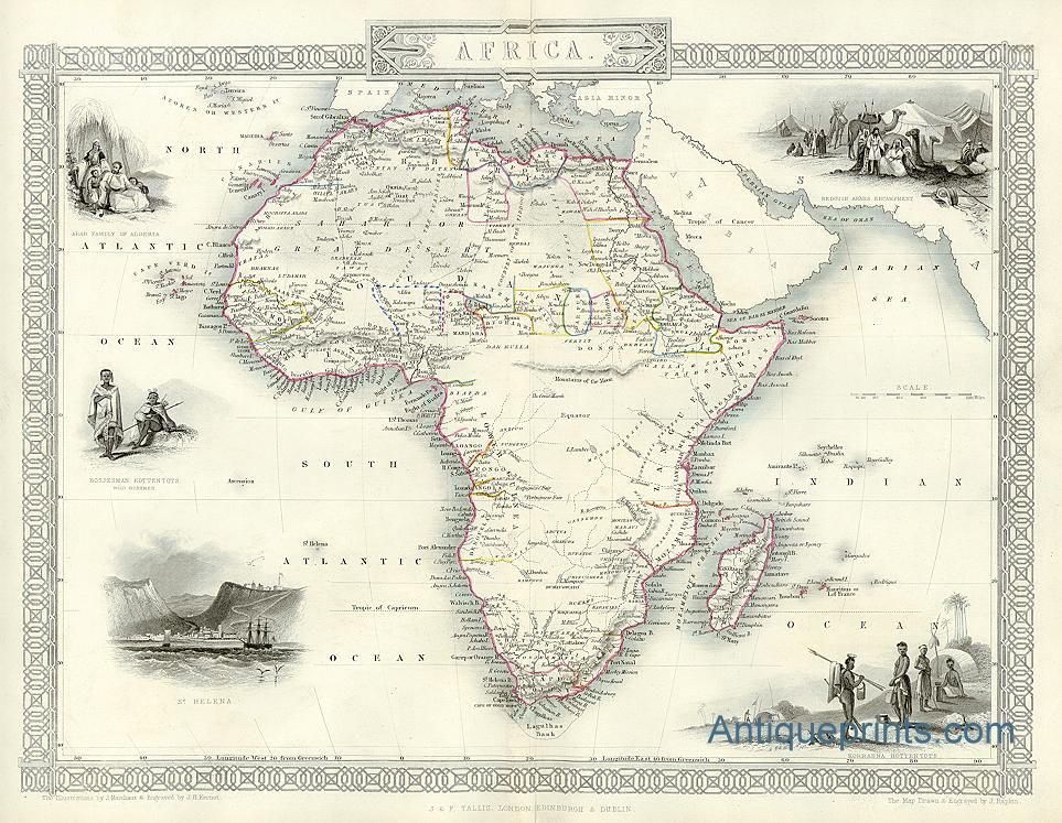 Map Of Africa 1850.Digital Map Of Africa Tallis About 1850 Discovered Afrika