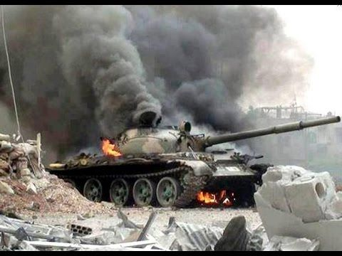 SYRIA WAR Street Fighting with MBT battle Tank and RPG's in HD