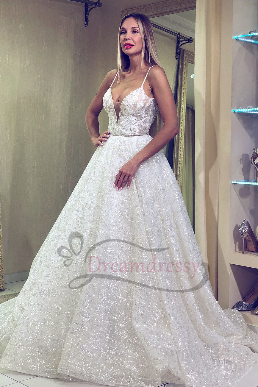 Sparkle spaghetti straps white long wedding dress party dresses