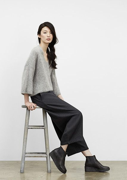 f1276ca868 EILEEN FISHER New Arrivals: Grey V-Neck Box-Top, Cropped Culottes + Chelsea  Bootie