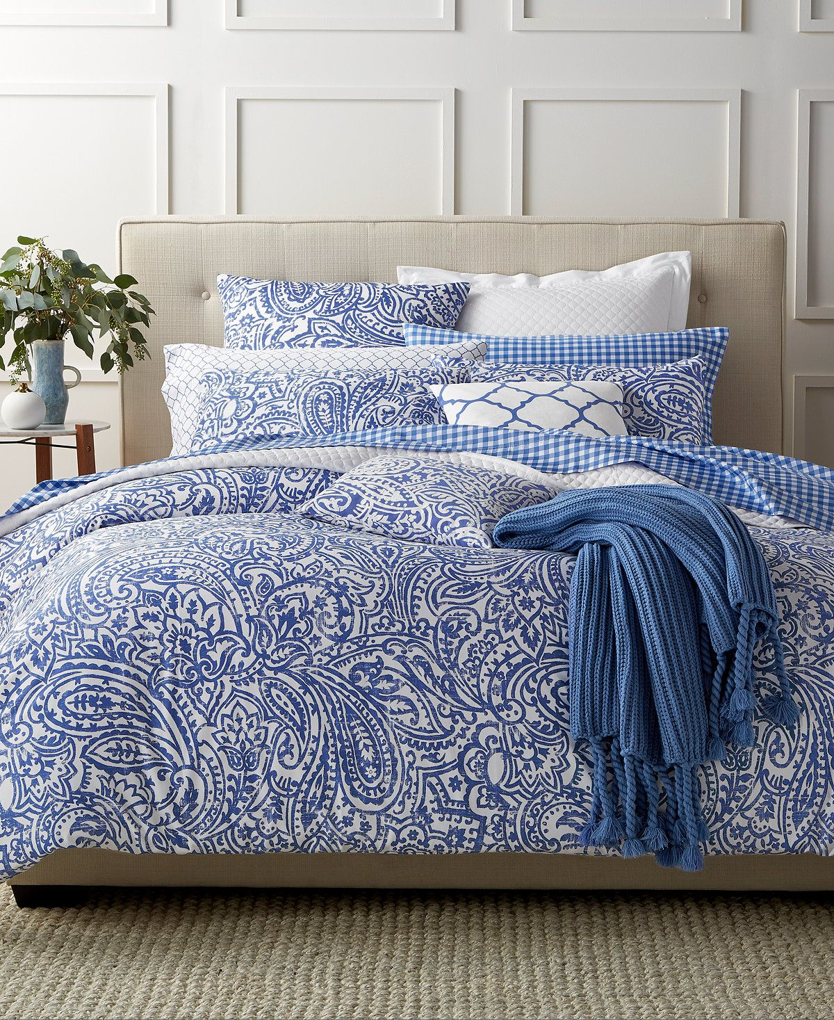 Charter Club Damask Designs Paisley Denim King Comforter
