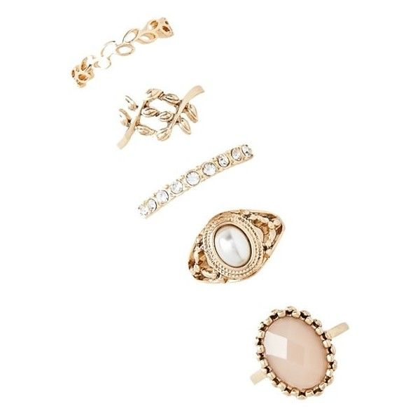 Forever21 Etched Faux Pearl Ring Set ($5.90) ❤ liked on Polyvore featuring jewelry, rings, accessories, artificial jewellery, forever 21 rings, fake jewelry, fake pearl jewelry and channel-set band ring