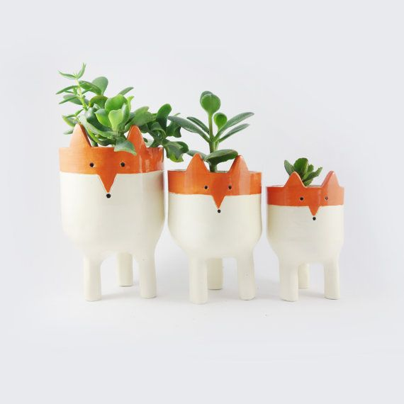 Little Tripod Fox Planter Fox Face Plant Pot By Minky Moo Ceramics