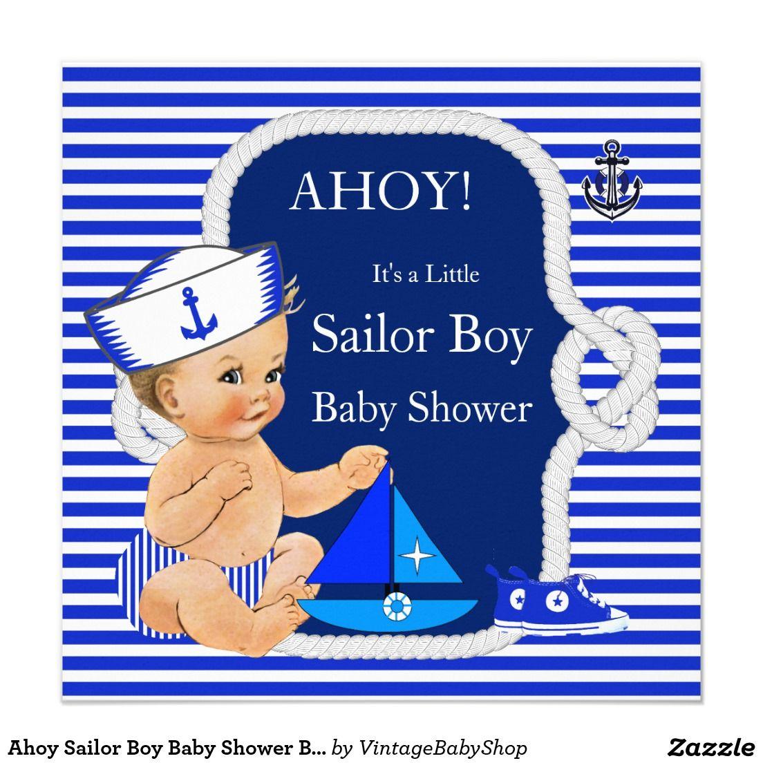 ahoy sailor boy baby shower blue white blonde invitation | sailor, Baby shower invitations