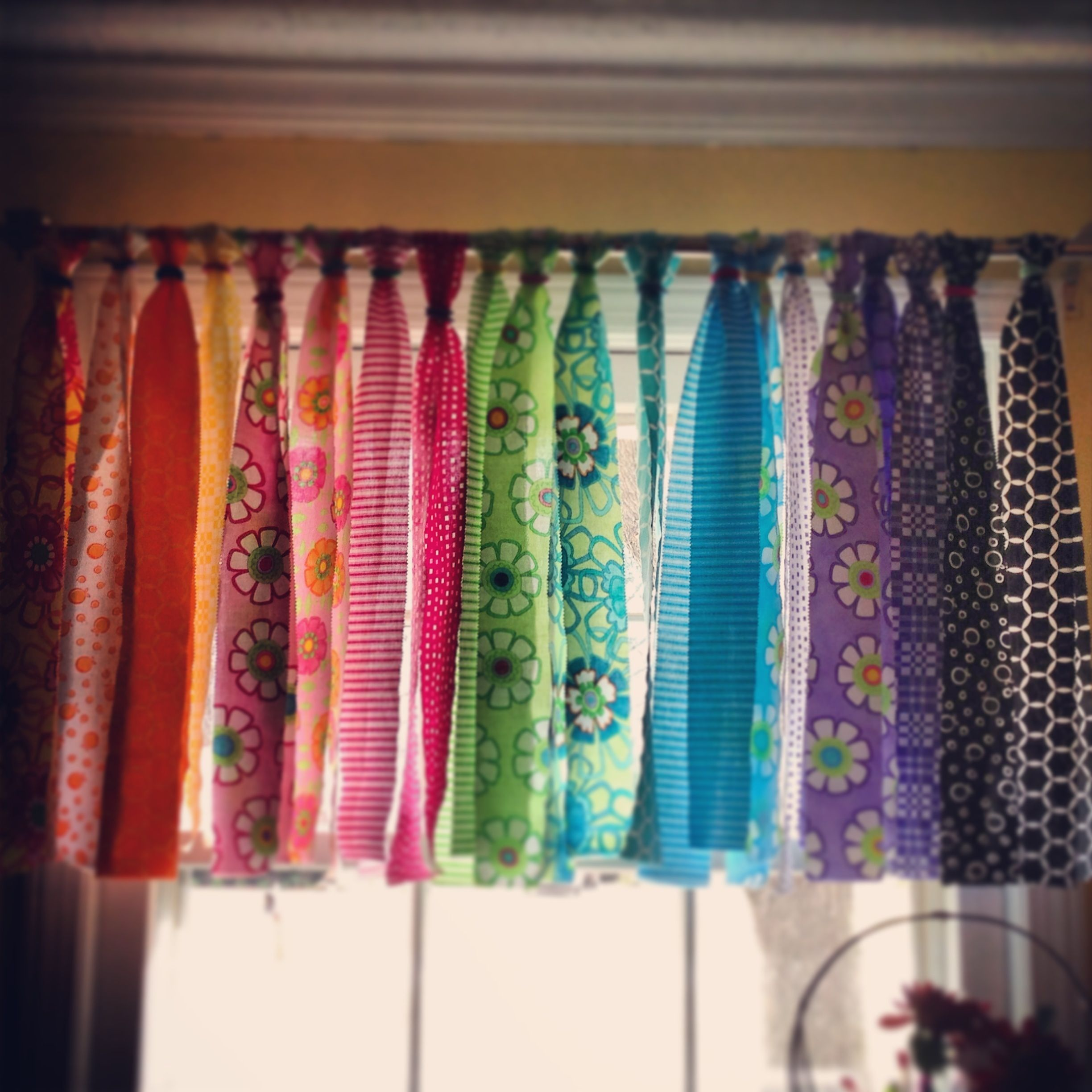 Curtains for the school room. Used a jelly roll and multi ...