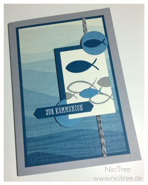 Stampin Up! Kommunion, #Match the Sketch 172, Eins für Alles, Am Meer, Fisch-Stempel & Stanze von Steckenpferdchen