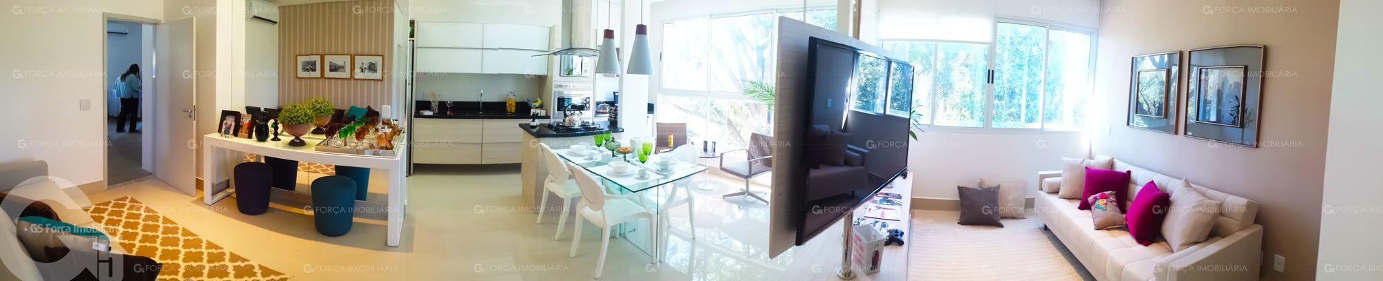 Apartamento 2 Quartos Decorado Terra Mundi Parque Cascavel - Living 360º