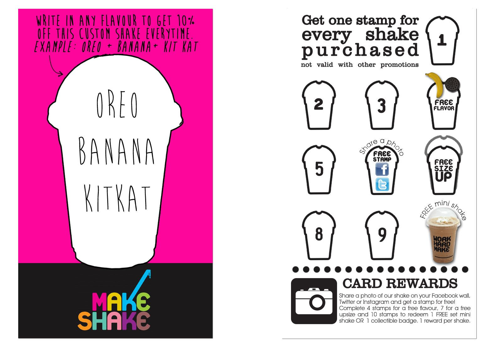 New Loyalty Stamp Card Makeshake Milkshakes Singapore S Best Dessert Stamped Cards Friend Referral Cards