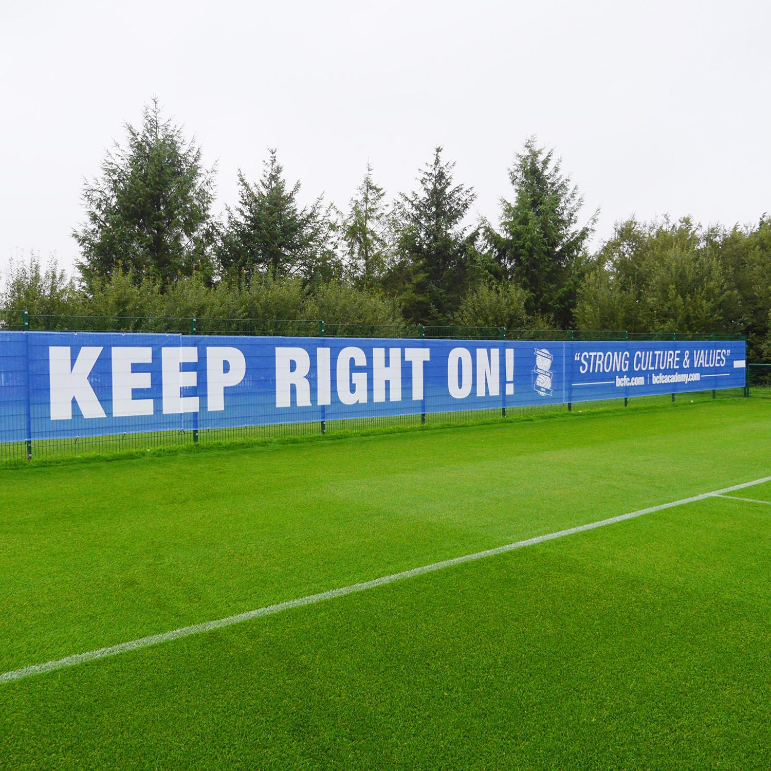 These Mesh Pvc Banners Were Printed And Installed At Birmingham City Football Clubs Training Ground By Http Www Printdesigns Co Pvc Banner Mesh Banner Banner