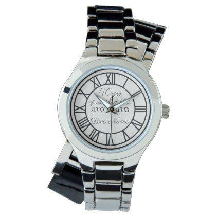 40th Wedding Anniversary Husband Wife Personalized Wrist Watch