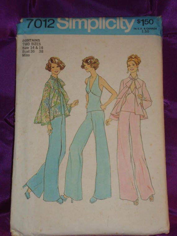 anni 1970 anni 70 vintage Halter Top gamba larga pantaloni n