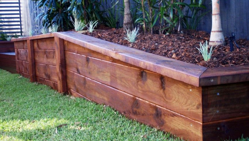 Engineered sleeper retaining walls garden planter boxes for Privacy wall planter