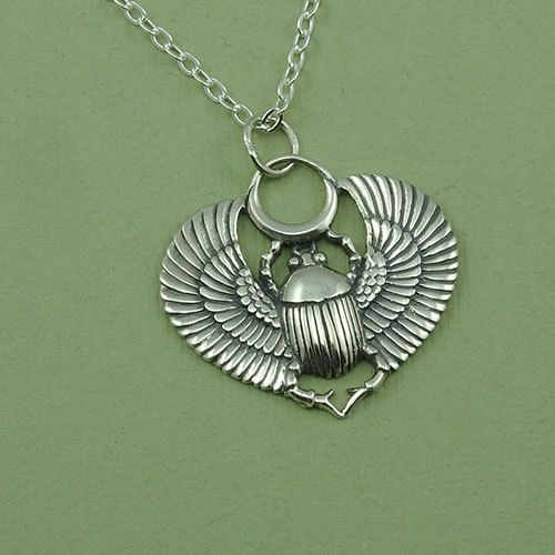 Egyptian jewelry scarab necklace sterling silver scarab beetle egyptian scarab necklace sterling silver scarab beetle pendant egyptian jewelry cleopatra necklace by thezenmuse on etsy null aloadofball Gallery
