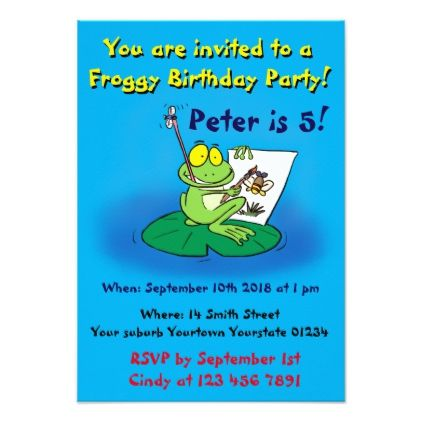 Cute Funny Frog Birthday Invitation  Invitations Personalize