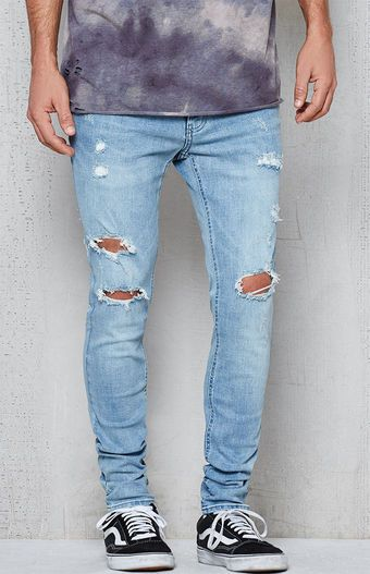 fe4bf5b507 Skinniest Light Indigo Destroyed Flex Stretch Jeans  MensJeans Men s Denim