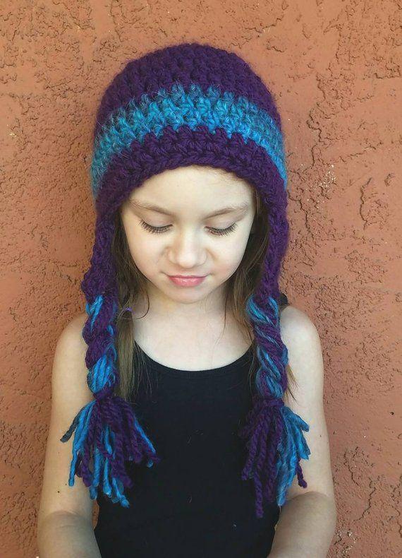 7fe31afbd0245 Kid's Purple and Blue Sherpa Hat. Ear Flap Hat. Girl's hat. Winter ...