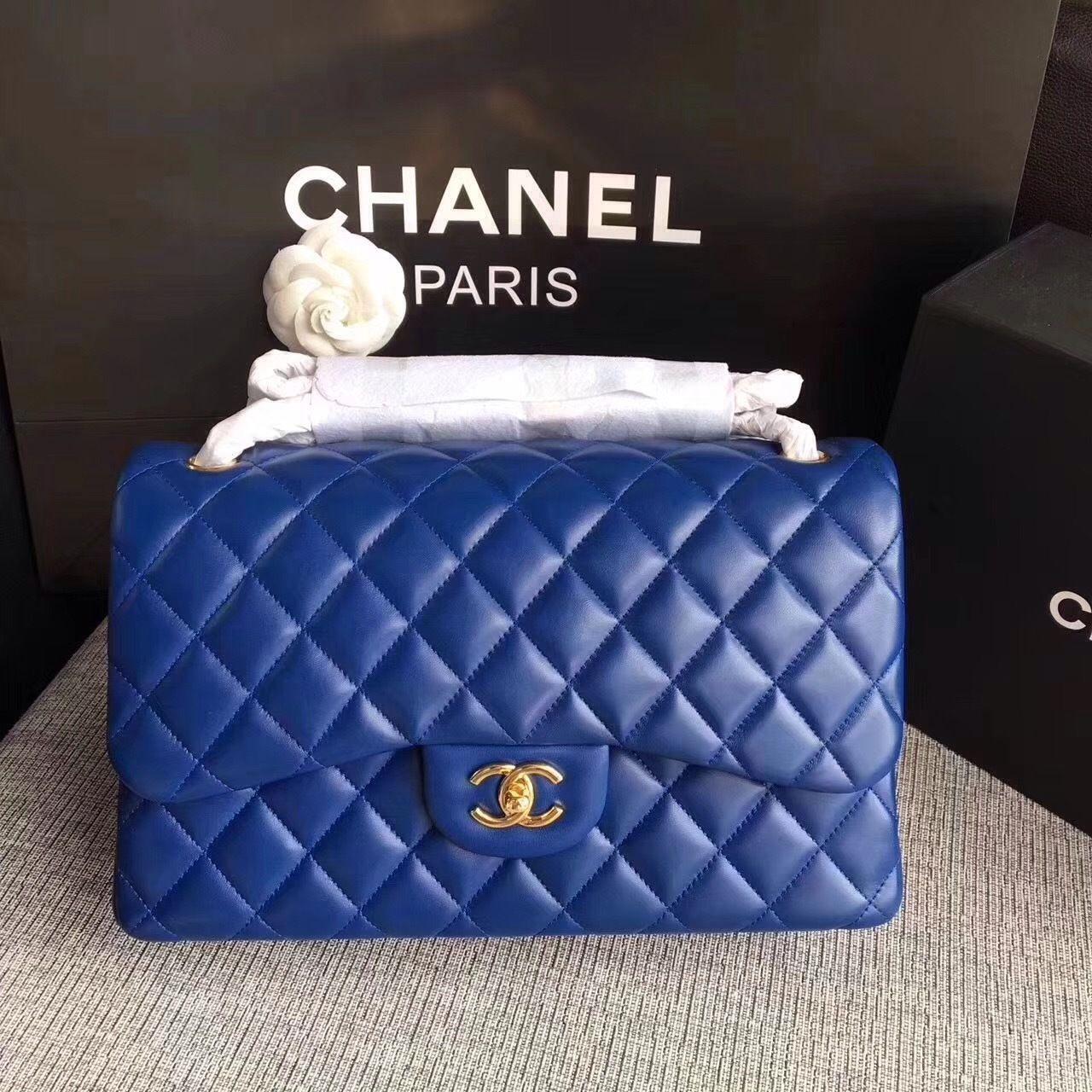 94ff03cba3c9b2 Chanel LARGE CLASSIC HANDBAG Blue Lambskin - Bella Vita Moda #chanel  #chanelbag #chanellover