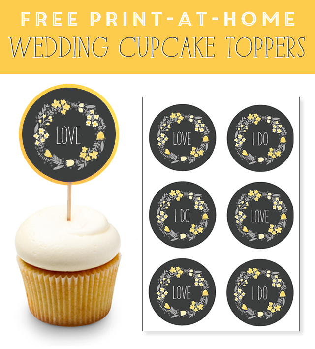 Free Print At Home Wedding Cupcake Toppers In Yellow Gray Wedding Cupcake Toppers Wedding Cupcake Toppers Free Wedding Cupcakes