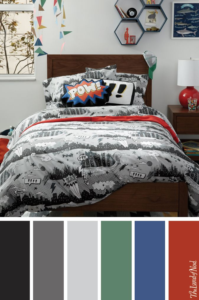 boys bedroom with comic book bedding and more nod kids 39 bedrooms