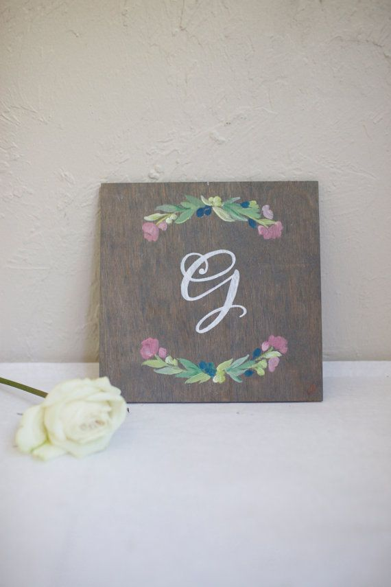 Monogram sign hand painted on stained by BeeCuriousDesigns on Etsy