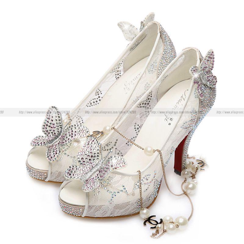 76b5de057b4e Women Wedding Shoes Butterfly Princess Cinderella Shoes Rhinestones Lace  Adults Red bottoms Thin Heel High heels peep-toe