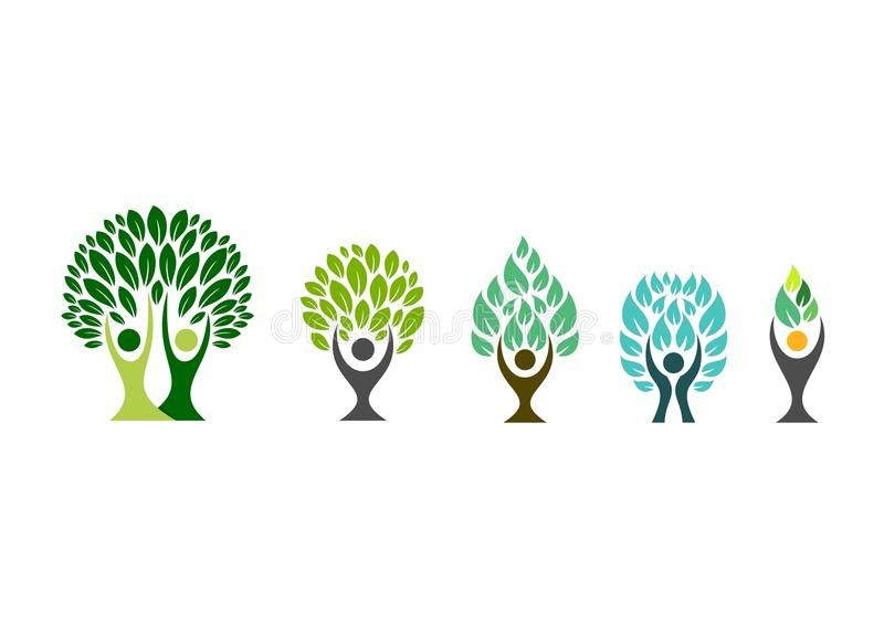 People tree logo,wellness symbol,fitness healthy icon set design vector. People , #AD, #wellness, #s...