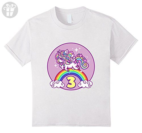 Kids Girls 3rd Birthday Unicorn T Shirt Gift 6 White