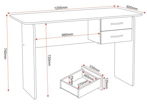 GRADE A2 - Seconique Jenny 2 Drawer Study Desk in