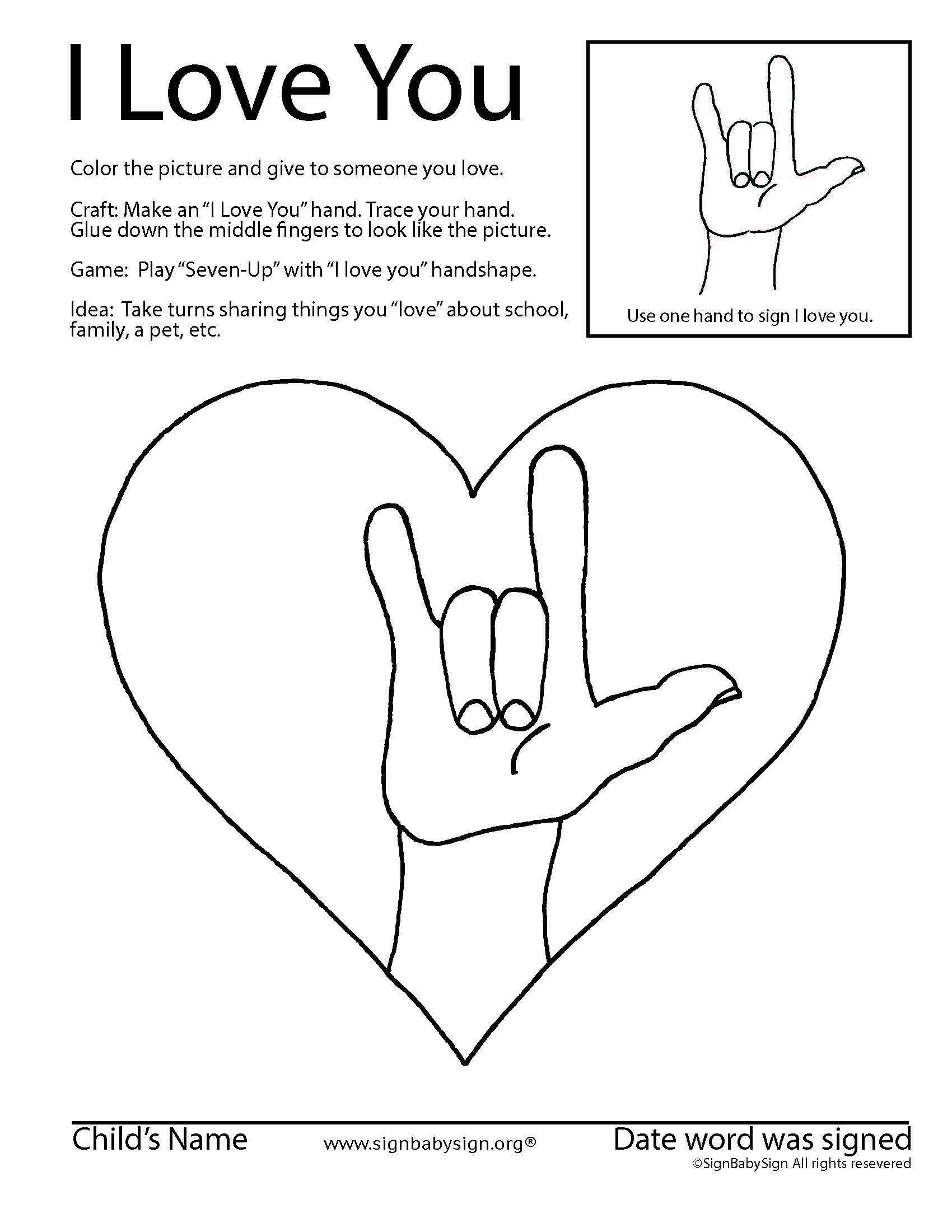 Asl Coloring Amp Activity Sheet For Preschool And Elementary