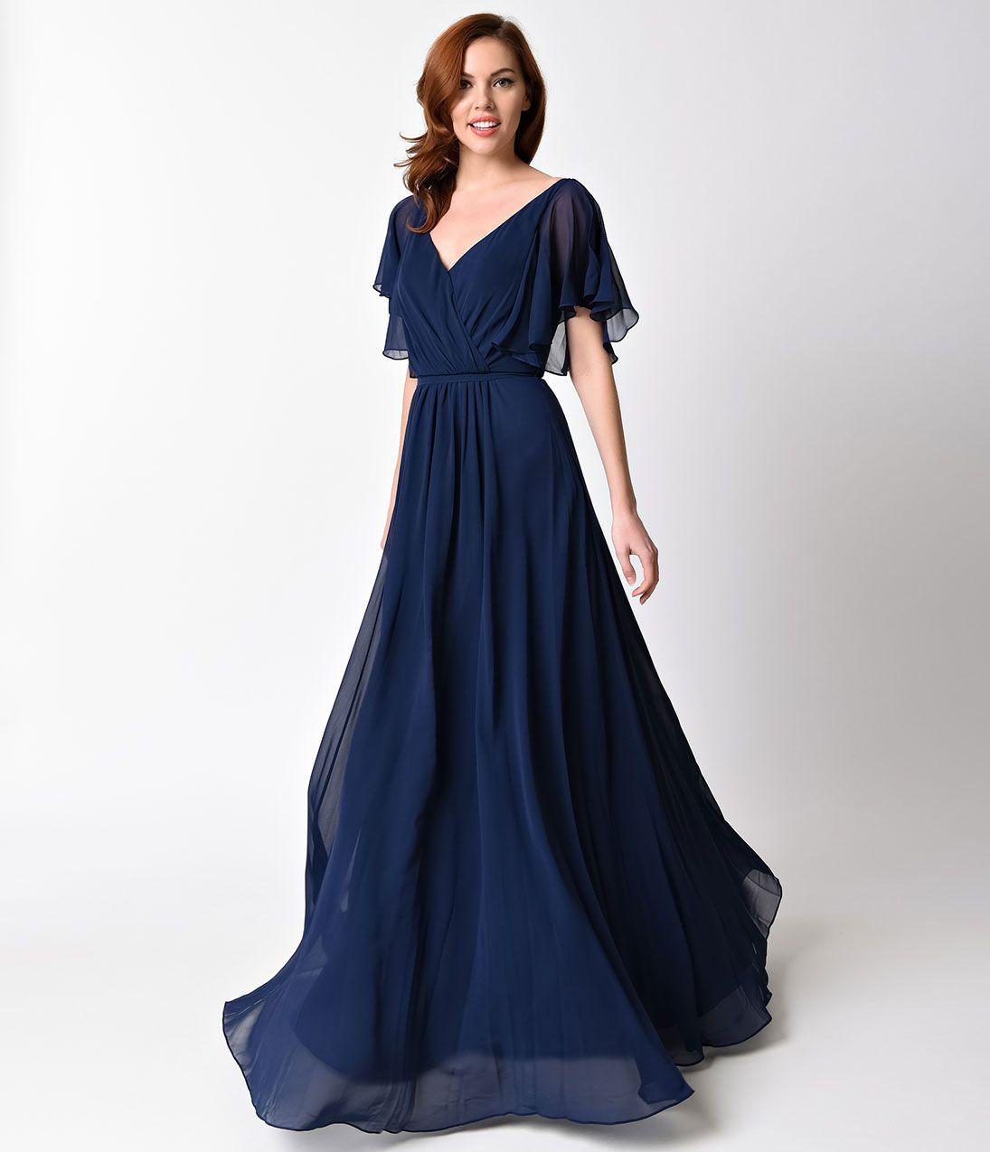 S evening dress art deco gown party dress blue blood