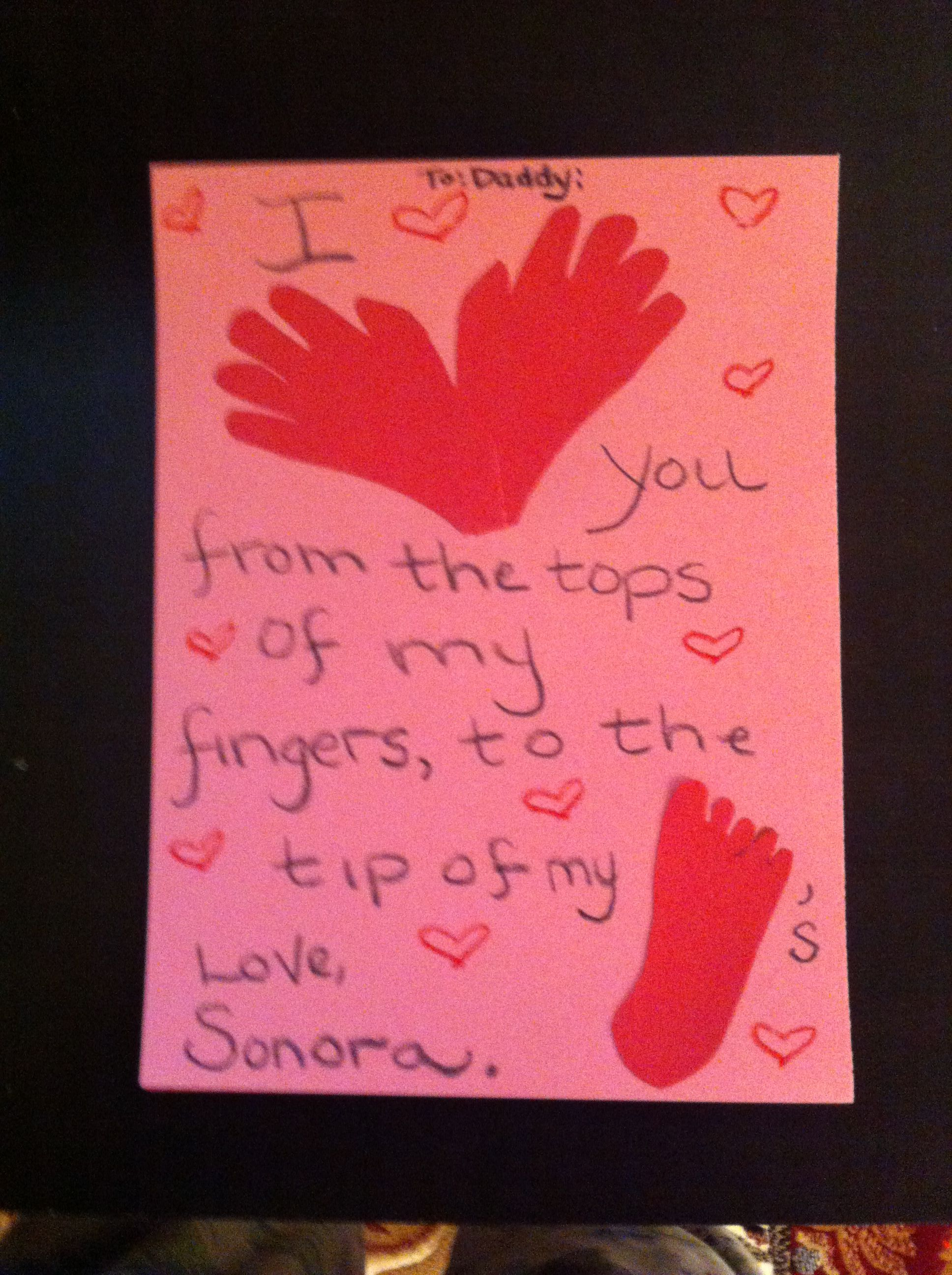 Valentine Card  I love you from the top of my fingers to the tip of my toes.