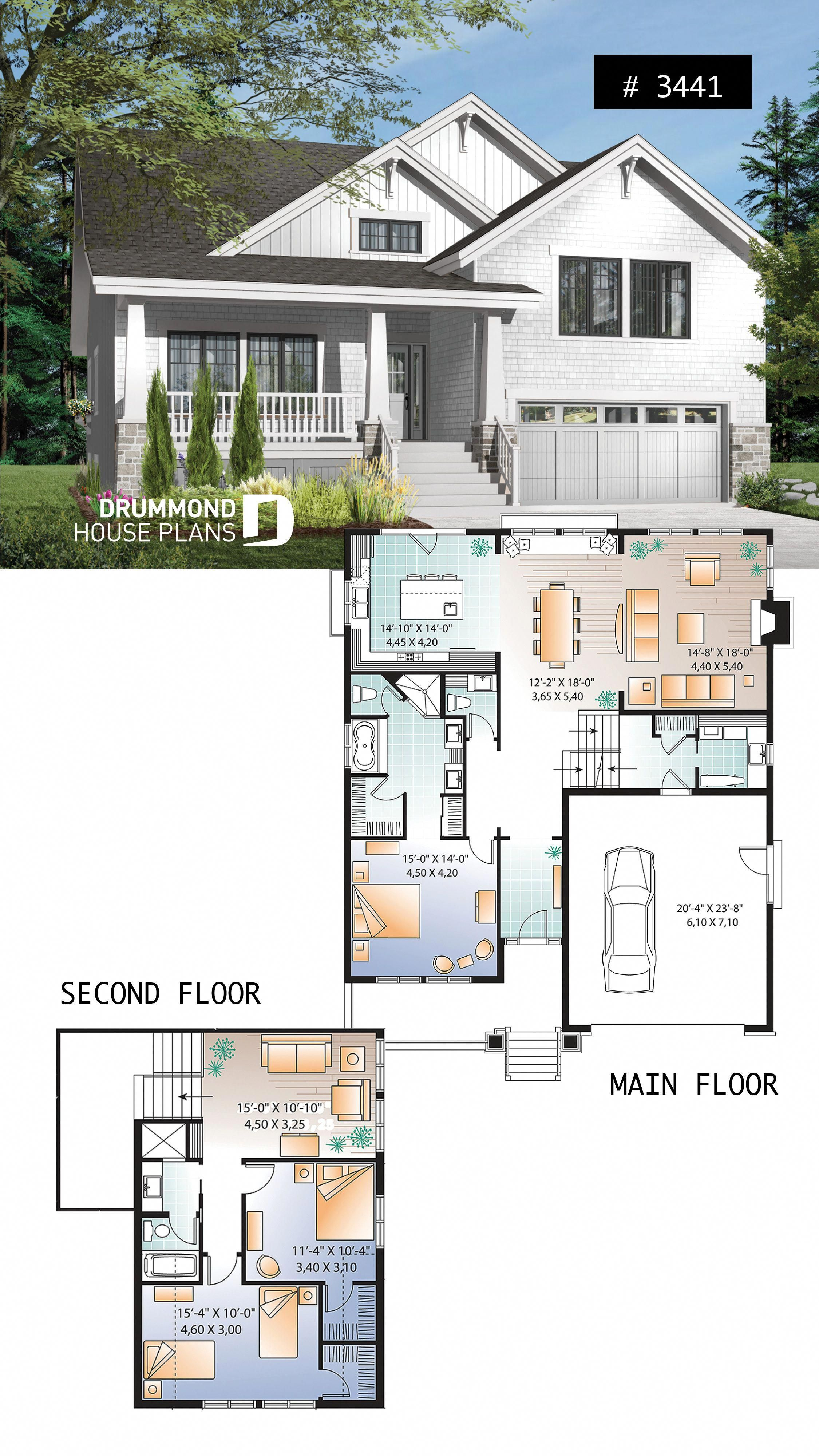 Craftsman Style Home Plan 3 To 4 Beds Master Suite On Main Floor Open Floor Plan Two Car Craftsman Style House Plans Craftsman House Plans Sims House Plans