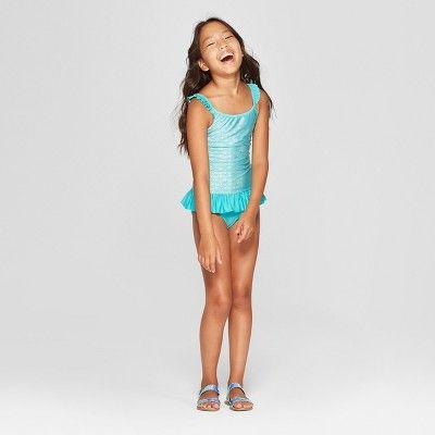 577b3c58dff Girls' Shimmermaid One Piece Swimsuit - Cat & Jack Turquoise M, Blue ...
