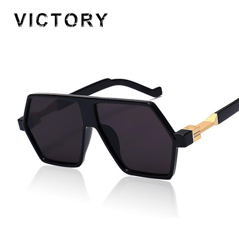 68aa2dbef2bb Flat Top Oversized Hip Hop 2016 Men Women Fashion Mirror Sunglasses Hippie  Rock Rap Sunshades Lady UV400 Male Cool Sun Glasses